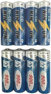 KINSUN 8-Pack Rechargeable Battery 1.2V Ni-Cd AA 900mAh for Outdoor Solar Garden Light Landscape Lights Path Lights