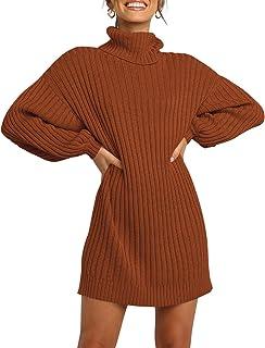 LOGENE Women's Sweater Dress Turtleneck Long Balloon Sleeve Ribbed Knit Oversized Pullover Dresses