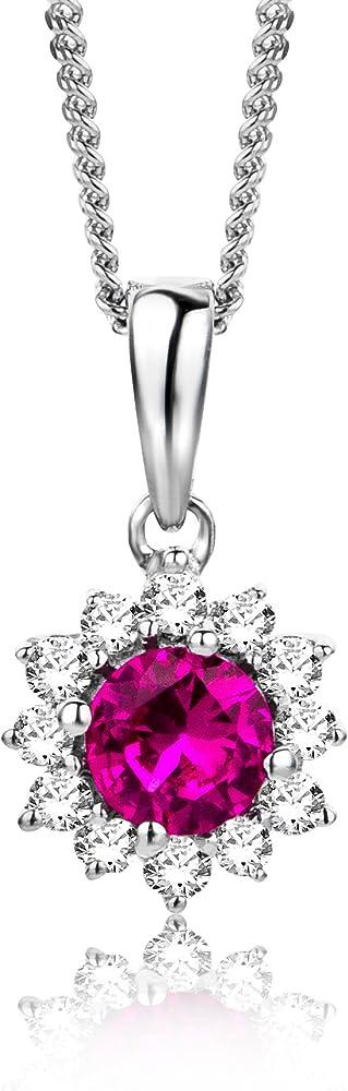 Orovi collana pendente donna con catena in oro bianco con diamanti ct 0.08 e rubino taglio rotondo ct 0.21 oro OR81149N