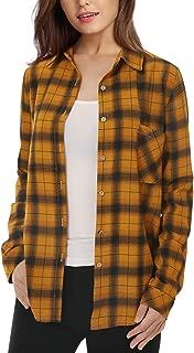 Womens Button Down Plaid Shirt Casual Long Sleeve Boyfriend Shirt for Women Plaid Tops with Front Pocke
