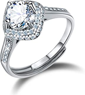 Madeone 18K White Gold Plating Excellent Cut Cubic Zirconia CZ Stone Rhombic Round Diamond Wedding Engagement Adjustable Rings for Women with Box Packing