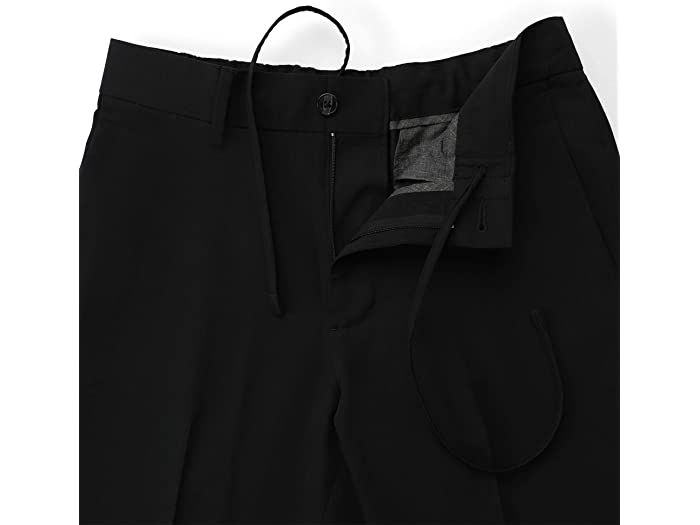 Kenneth Cole Reaction Stretch Solid Drawstring Slim Fit Fl Front Flex Wasitband Dress Pants Black
