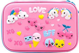 Cute Unicorn Love Embossed Hardtop Pencil Case - Girls School Supply Stationery Organizer - Large Capacity Kids Pen Box Pouch Bag with Compartment (Light Pink)