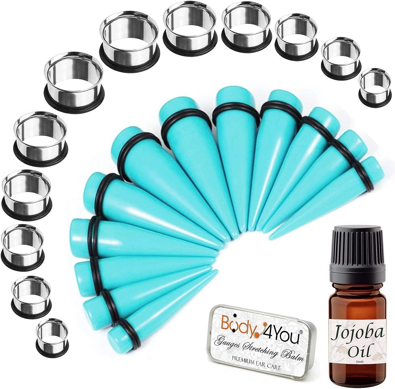 BodyJ4You 26PC Complete Free Shipping New sales Big Gauges Kit Ear Jojoba Oil 00G Balm Stretching