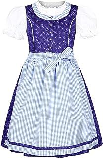 Isar-Trachten Mädchen Kinderdirndl mit Bluse blau hellblau, BLAU Marine, 80