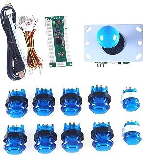 Marwey LED Arcade DIY Parts 1X Zero Delay USB Encoder + 1X 8 Way Joystick + 10x LED Illuminated Push Buttons for Mame Jamma Arcade Project Blue Kits
