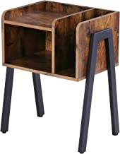 HOOBRO Nightstand, Stackable End Side Table with Vertical Storage Unit, Wooden Accent Table with Stable Metal Frame, Rustic Brown