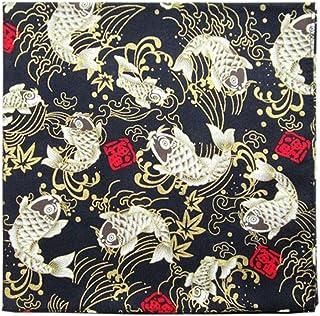 Japanese Black Goldfish Ladies Handkerchief Tenugui for Bento Lunch Wrapping Wedding Decorations