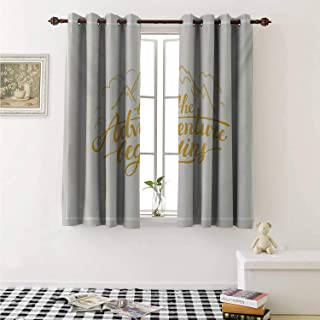 Adventure Thermal Insulating Blackout Curtain Vibrant Mountain View and The Adventure Begins Quote Travel Hand Drawn Curtains Girls Room W55 x L39 Inch Earth Yellow Apricot