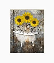 Rustic Yellow Brown Wall Art, Sunflower Decor, Farmhouse Bathroom Matted 5x7, 8x10, 11x14 Home Decor Wall Art Picture
