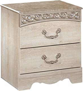 Ashley Furniture Signature Design - Catalina Nightstand - 2 Drawers - Traditional - Replicated Chestnut Grain - Antique White