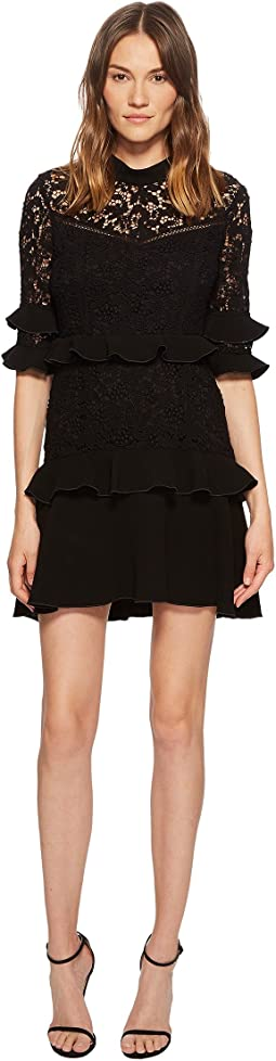 Janina Garden Lace Ruffled Mini Dress
