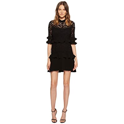Rachel Zoe Janina Garden Lace Ruffled Mini Dress (Black) Women