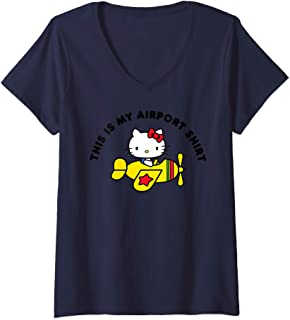 Womens Hello Kitty This is my Airport Shirt V-Neck T-Shirt
