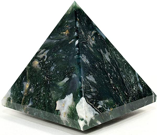 AAA Grade Moss Agate Pyramid Size Approx 1 5 2 Inch Healing GemStone Reiki Crystal Energized Chakra Crystal Balancer Generator Reiki Healing Pyramid A High Quality Product From US Seller