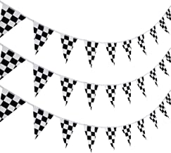 Pangda 10 Meters Checkered Pennant Banner Racing Flag Party Flag Banner Accessory for Race Theme Birthday Party Decoration