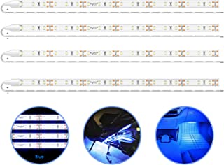 PryEU Blue (465-475nm) LED Strip Lights 12V Waterproof for Auto Car Truck Boat Motorcycle Interior Lighting 12'' 30CM 3528 SMD UL Listed Pack of 4