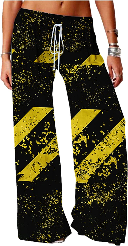 Oversized Yoga Pants, Stripe Print Elastic Drawstring High Waist Wide Leg Joggers for Women, Plus Size Womens Trousers