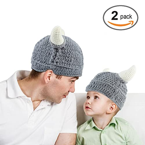 9402ab0c920 Baby Infantl and Parent Hat Toddler Knit Viking Beanie Crochet Handmade Cap  Baby Photography Props (