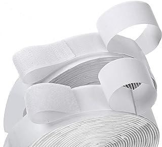 "BQS 1"" Width Self Adhesive Hook and Loop Sticky Back Tape Fastener 16 feet(White)"