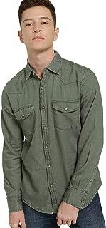 Lion & Hess Olive Green Solid Classic Collar Denim Slim Fit Shirt for Men