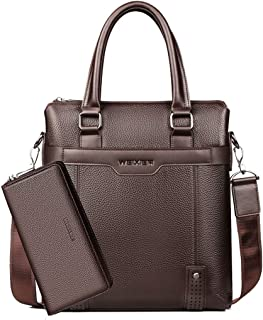 New Leather Men's Bag, Casual Handbag Men's Vertical Business Briefcase Leather Shoulder Diagonal Package