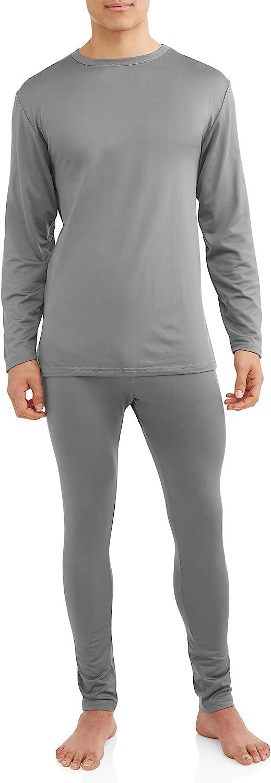 Comfort Fit Men's 2-Piece Microfiber Fleece Lined Thermal Underwear Set top and Bottom (Long Johns) Size 2 XL Grey