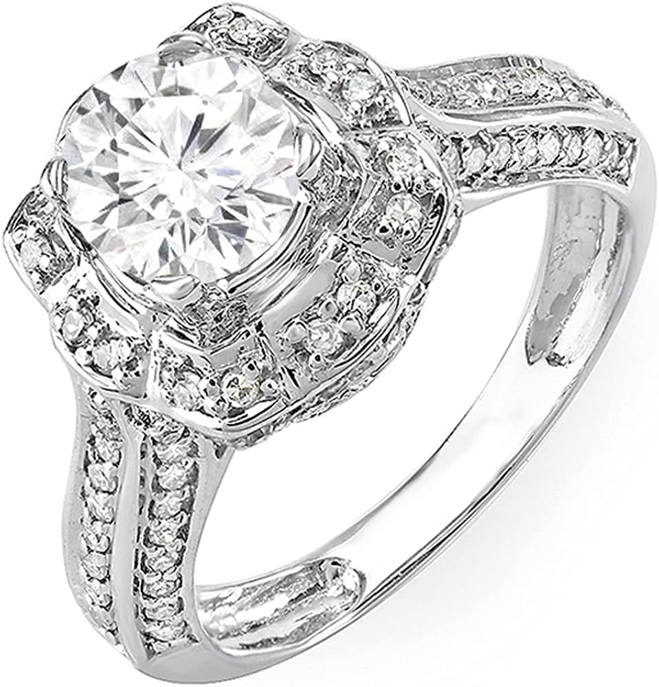 Dazzlingrock Collection 14K Gold Round High quality new Limited price sale White Cut Moissanite Di