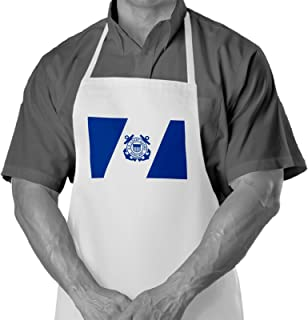 Cooking / Grilling Apron with US Coast Guard, Auxiliary Flag - Durable Spun Polyesther - Softer than cotton