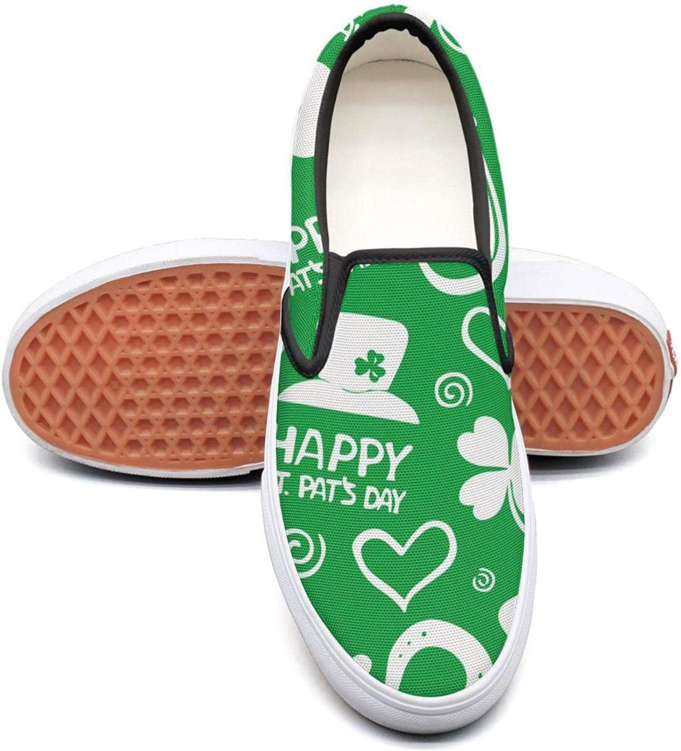 Happy St. Patrick's Day Mens Fashion Slip on Canvas Lace up Dhoes Low Top Volleyball Sneakers