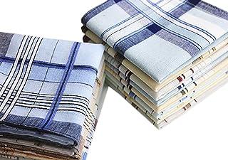 LACS Mens Classic Woven Cotton Striped Handkerchiefs Hankies Pack