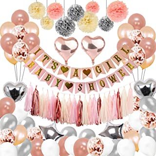 Baby Shower Decorations For Girl,the Party Supplies include 108Pcs Banners Paper Pompoms Heart-type Balloons Pentagram Balloons Rose Gold Balloons Tassels Color Ribbon Balloon Straw for Baby Girls