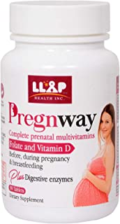 PREGNWAY Complete Prenatal Multivitamin for Before, During, and Post Pregnancy, including B12, FOLATE + Digestive Enzymes ...