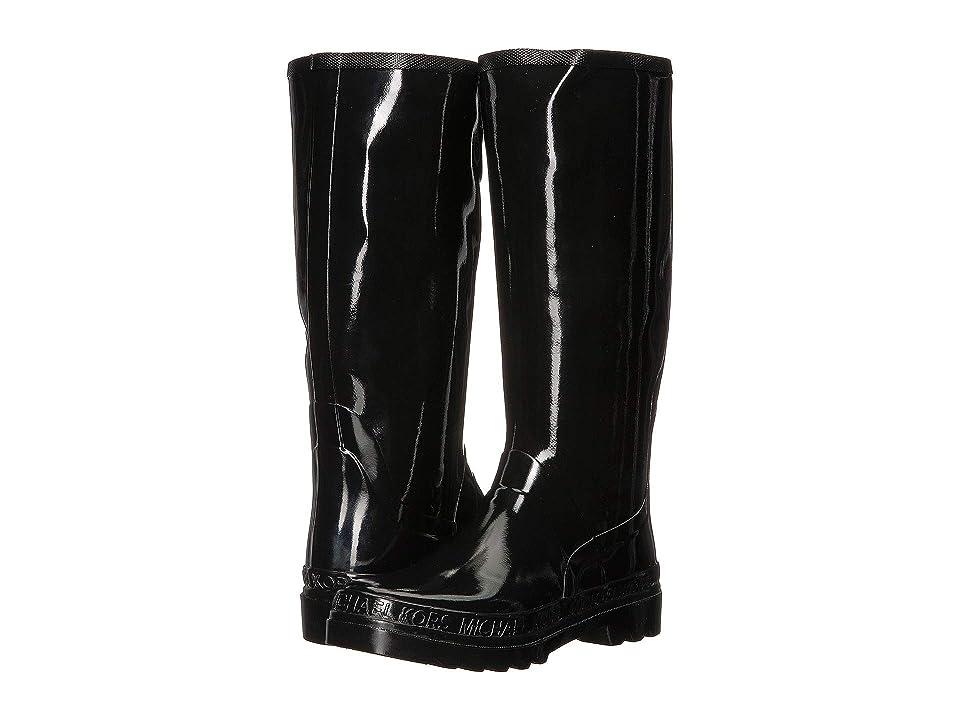 MICHAEL Michael Kors Baxter Rain Boot (Black Rubber/Mini MK Logo PVC Print) Women