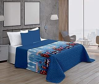 ForenTex Colchas Londres Cama 90 Reversible Termo Estampadas De Verano Primavera con Funda Cojines, Azul, 2