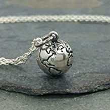 Tiny Earth World Globe 3D Charm Necklace - 925 Sterling Silver, 18