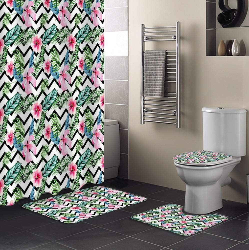 Fangship 4 Piece Shower Max 69% OFF Curtain Max 60% OFF Tropic Sets Hibiscus Leaves Palm