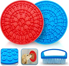 Petkoo Dog Lick Mat Set of 2 with Scrub Brush - Silicone Lick Pad for Pet Bath - Stronger Suction Cups for Shower or Tub -...
