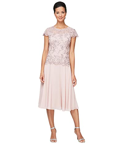 Alex Evenings Tea Length Mock Dress with Illusion Neckline Scallop Detail and Full Skirt