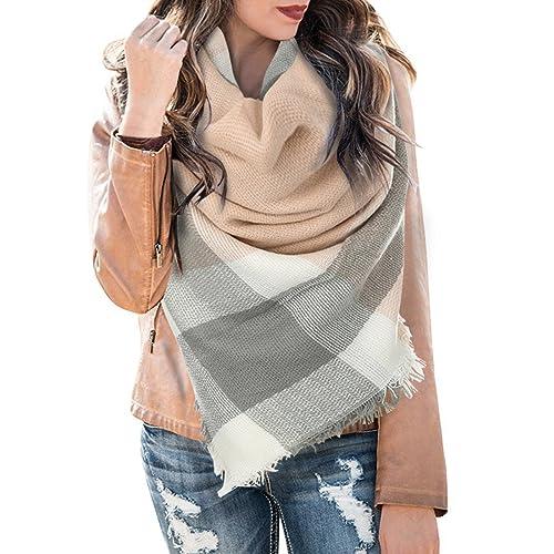 0c3f9db4d4a5c Huiyuzhi Womens Casual Warm Color Block Plaid Blanket Scarf Gorgeous Wrap  Shawl