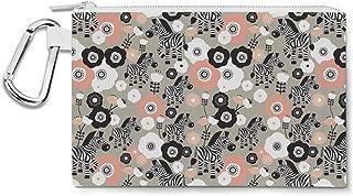Zebra Blossoms Canvas Zip Pouch - Multi Purpose Pencil Case Bag