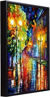 Painting Mantra Beautiful Rainy Street Theme 1 Framed Canvas Painting Art Print - 13x17 Inchs