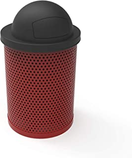 Coated Outdoor Furniture RDT-P-RED Round Trash Receptacle with Dome Top, Liner Included, 32 Gallon, Red