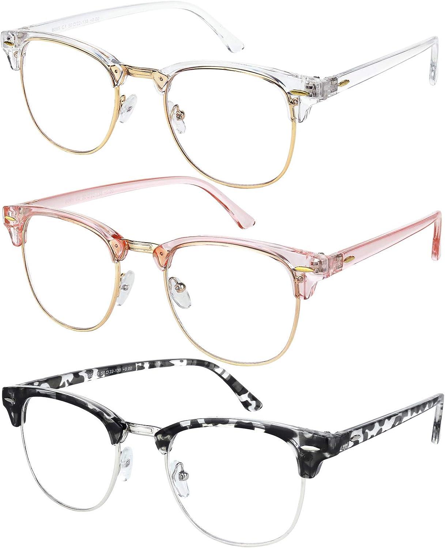 Blue Light Glasses for Men and Women Semi Rimless Half Rim Computer Eyeglasses 3 Pack Crystal Gold, Transparent Pink Gold, Blue Gold