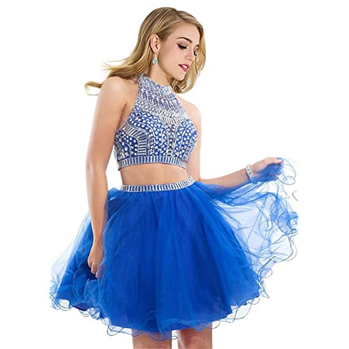 6be98a859c3c Short Prom Dresses Two Piece Homecoming Tulle Beaded Halter Evening Formal  Cocktail Gowns