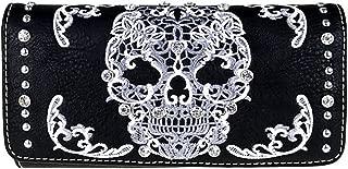 MW494-W002 Montana West Sugar Skull Collection Tri-Fold Wallet Wristlet (Black/White)