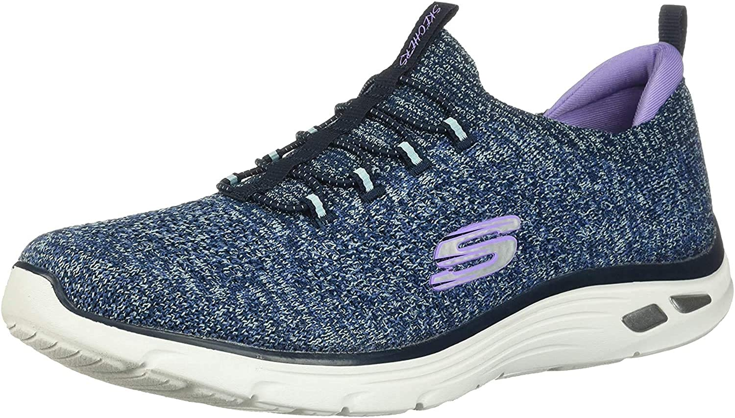 Skechers Damen Empire D\'lux-Sharp Witted Sneaker, blau Blau Navy Knit Mesh Aqua Purple Trim Nvaq