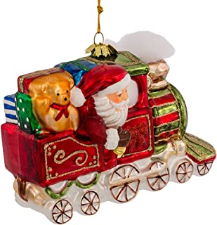 Noble Gems Kurt Adler Glass Santa on Christmas Train Ornament, 5.5-Inch