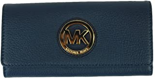 Fulton Flap Continental Leather Clutch Wallet in Navy