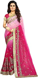 Niza Fashion Women's Embroidery Georgette Saree with Blouse Piece (NF-Diamond-Pinky_Pink)